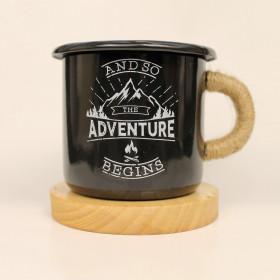 """Эмалированная кружка """"Adventure begins"""", черная"""
