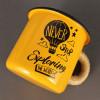 """Эмалированная чашка с принтом """"Never stop exploring the world"""" оранжевая"""